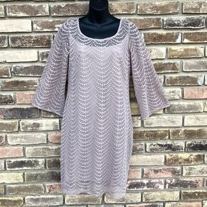 MUSE lace beige dress bell sleeves 4